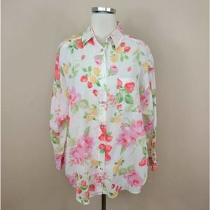 Laura Ashley Vintage Floral Shirt Roses Button Up